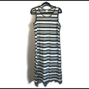 Charcoal and white striped tank dress. Size S.